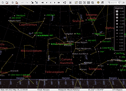 AstroGrav screenshot showing a view of the inner solar system